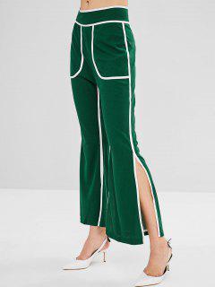 Pantalon évasé Décontracté Avec Fente Et Bordure Contrastante - Vert Foncé Xl