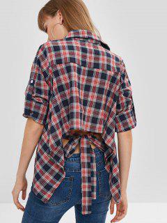 Plaid Asymmetric Roll Sleeve Blouse - Multi L