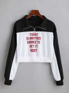 Letter Printed Half Zip Sweatshirt - White Xl