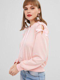 Drop Shoulder Ribbon Tied Hoodie - Flamingo Pink S