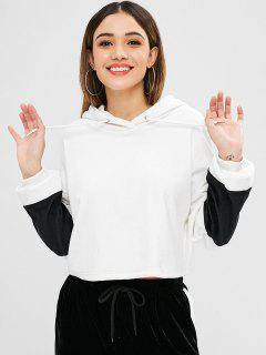 ZAFUL Drop Shoulder Velvet Hoodie - White S