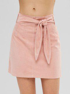 ZAFUL Short Faux Suede Tied Skirt - Deep Peach S