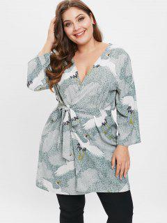 Kimono Oiseaux Imprimé De Grande Taille - Multi 1x