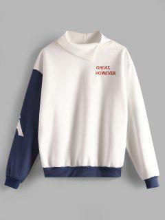 Plus Size Letter Embroidered Fleece Sweatshirt - White 2x