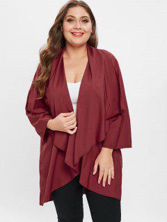 Manteau Drapé De Grande Taille - Rouge Vineux 3x
