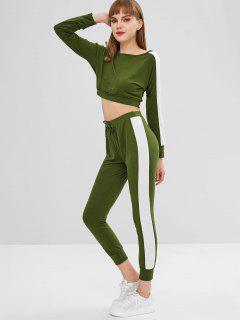 Two Tone Side Striped Pants Set - Army Green Xl