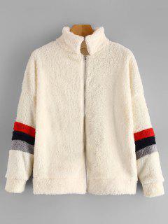 Manteau Duveteux Zippé à Rayures - Blanc Chaud M