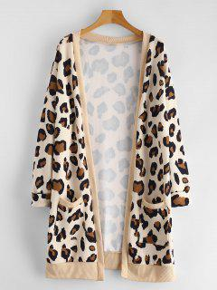 Longline Open Front Leopard Coat - Leopard L