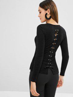 Back Lace Up Side Slit Knitwear - Black L
