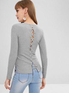 Back Lace Up Side Slit Knitwear - Gray Xl