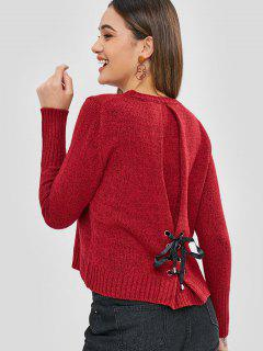 Heathered Cut Out Lace Up Sweater - Cherry Red