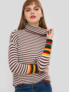 Turtleneck Drop Shoulder Striped Sweater - Deep Brown