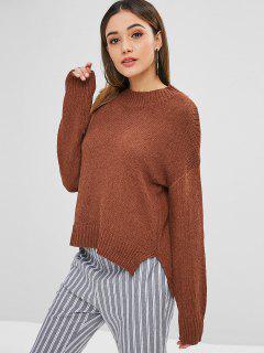 Suéter De Textura Suelta Con Abertura Alta Y Baja - Marrón