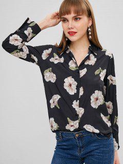 Camisa Dividida Lateral Con Estampado De Flores - Multicolor S