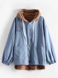 Manteau à Capuche Haut Bas En Peau De Mouton - Bleu Toile De Jean L