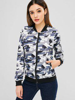Camo Pattern Zip Bomber Jacket - Acu Camouflage 2xl
