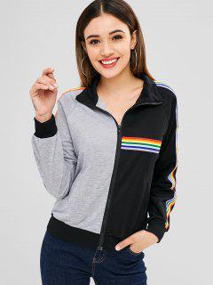 Zip Up Rainbow Trim Sweatshirt - Multi Xl