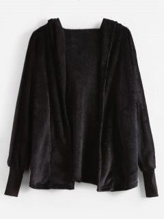 Hooded Open Front Faux Fur Coat - Black L