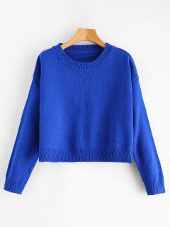 Caer Suéter De Cultivos De Hombro - Azul