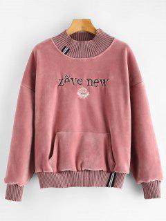 Velvet Letter Embroidered Pocket Sweatshirt - Pale Violet Red L
