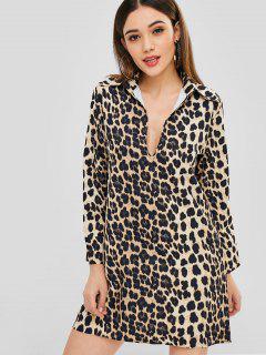 Mini Vestido Con Estampado De Leopardo Con Cuello En V - Leopardo L