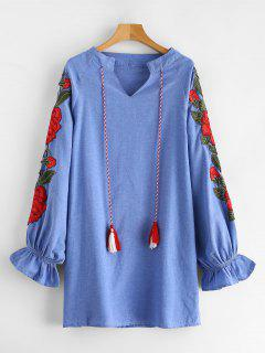 Tassel Flower Embroidered Chambray Dress - Sky Blue Xl