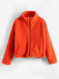 Zip Up Coloreado Mullido Abrigo De Invierno - Naranja Brillante
