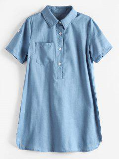 Side Slit Mini Pocket Shirt Dress - Denim Blue Xl