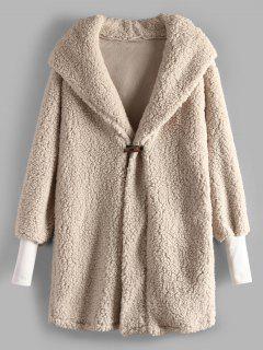 Horn Button Faux Fur Hooded Coat - Beige L