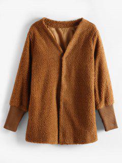 Snap Button Faux Fur Plain Coat - Caramel M