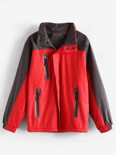 Zipper Pockets Color Block Coat - Red 2xl