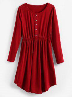 Robe Plissée Boutonnée à Manches Longues - Rouge Vineux L