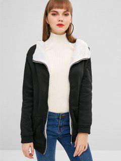 Manteau à Capuche En Peau De Mouton Avec Poche En Avant - Noir Xl