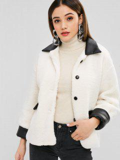 Faux Leather Panel Buttoned Fluffy Coat - Beige