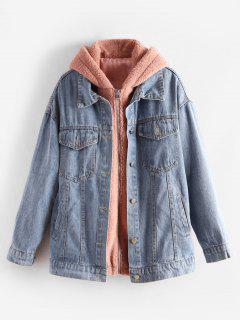 Separate Fluffy Hooded Coat And Denim Jacket Set - Denim Blue L