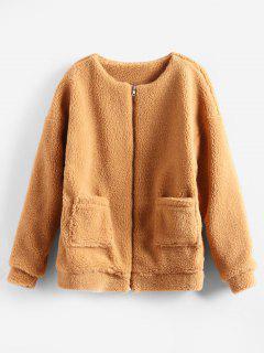 Manteau En Fausse Fourrure Moelleux Avec Poches Zippées - Orange Tigre S