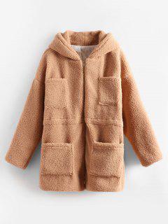 Manteau D'Hiver Avec Poches En Fausse Fourrure - Marron Camel L