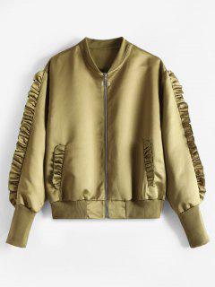 Zip Up Ruffles Plain Jacket - Fern Green L