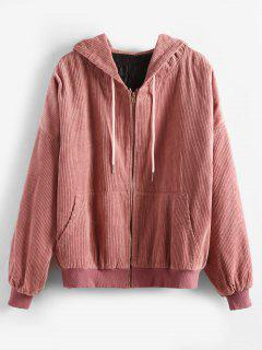 Hooded Quilted Oversized Corduroy Jacket - Pink L