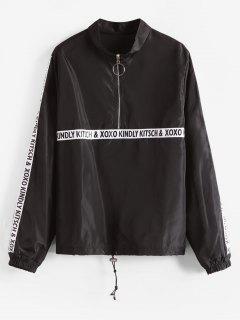 Letter Patched Half Zip Sweatshirt - Black M
