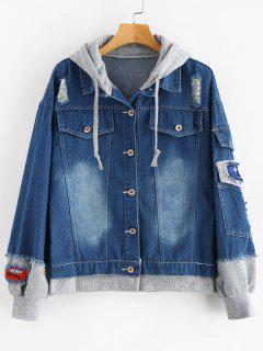 Distressed Hooded Denim Jacket - Gray L