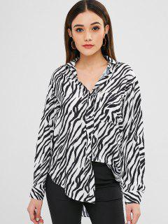 Zebra Print Long Sleeve Shirt - Multi L