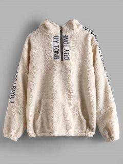 Letter Patched Front Pocket Fluffy Hoodie - Beige S