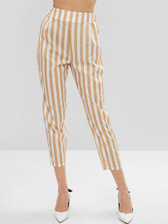 High Waist Two Tone Striped Pants - Goldenrod L
