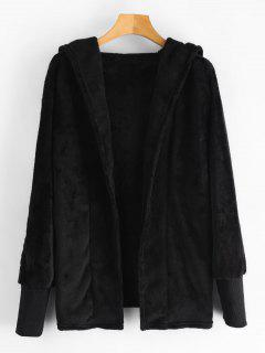 Hooded Open Front Fuzzy Coat - Black M