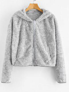 ZAFUL Zip Up Fluffy Faux Shearling Teddy Hoodie - Gray Cloud M