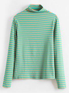 Camiseta Rayas Cuello Mock - Verde
