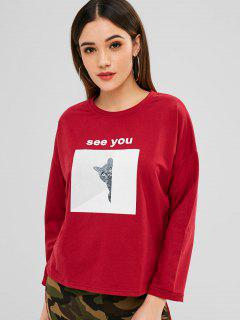 Cute Cat See You Sweatshirt - Cherry Red L