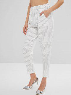 Striped High Waist Cuffed Pants - White M