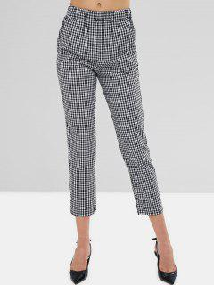 Mid Waist Gingham Straight Pants - Black M
